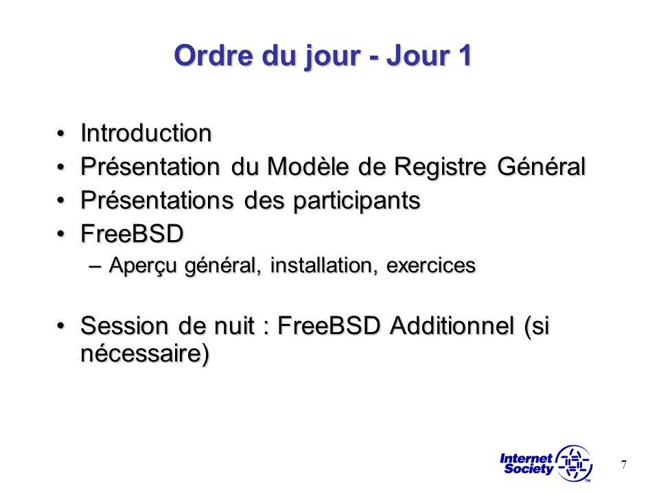7 Ordre du jour - Jour 1 Introduction Introduction Présentation du Modèle de Registre Général Présentation du Modèle de Registre Général Présentations