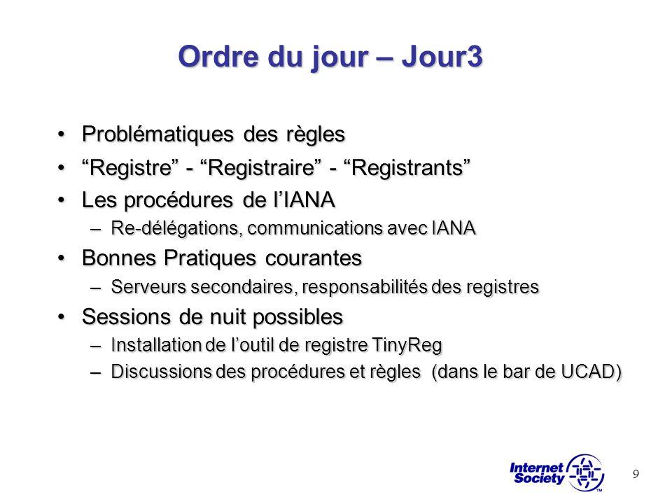 9 Ordre du jour – Jour3 Problématiques des règlesProblématiques des règles Registre - Registraire - RegistrantsRegistre - Registraire - Registrants Le