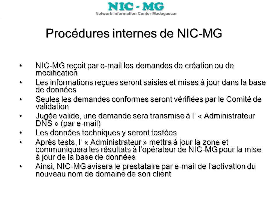 Procédures internes de NIC-MG NIC-MG reçoit par e-mail les demandes de création ou de modificationNIC-MG reçoit par e-mail les demandes de création ou