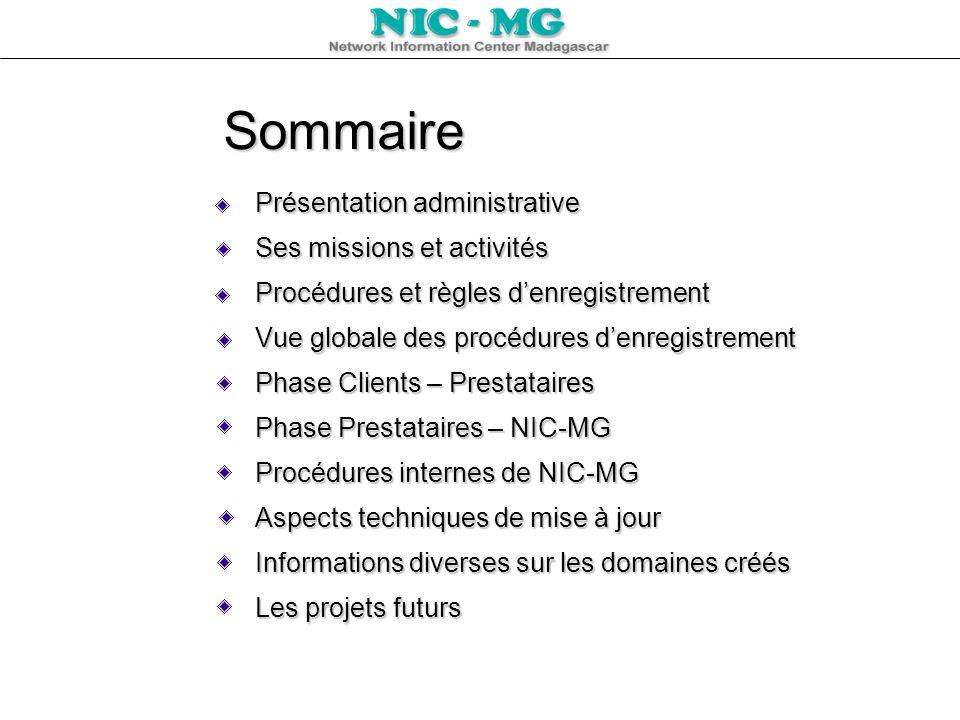 Sommaire Présentation administrative Ses missions et activités Procédures et règles denregistrement Vue globale des procédures denregistrement Phase C