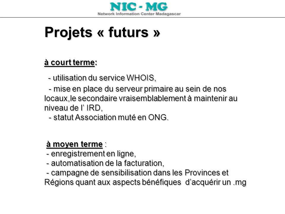 Projets « futurs » à court terme: - utilisation du service WHOIS, - mise en place du serveur primaire au sein de nos locaux,le secondaire vraisemblabl