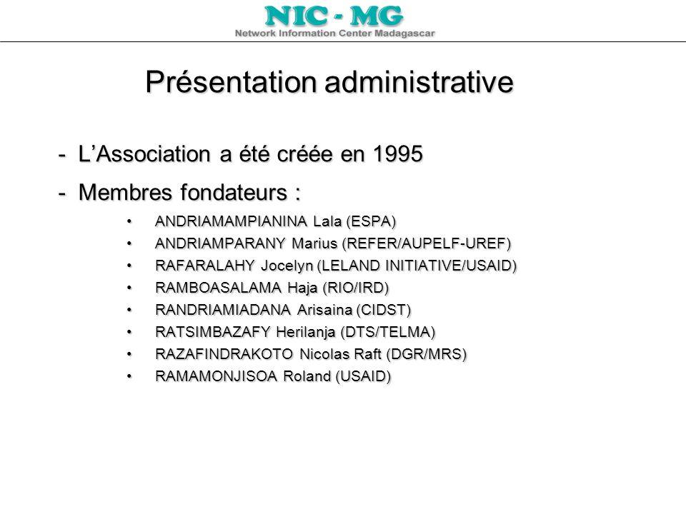 Présentation administrative - LAssociation a été créée en 1995 - Membres fondateurs : ANDRIAMAMPIANINA Lala (ESPA)ANDRIAMAMPIANINA Lala (ESPA) ANDRIAM