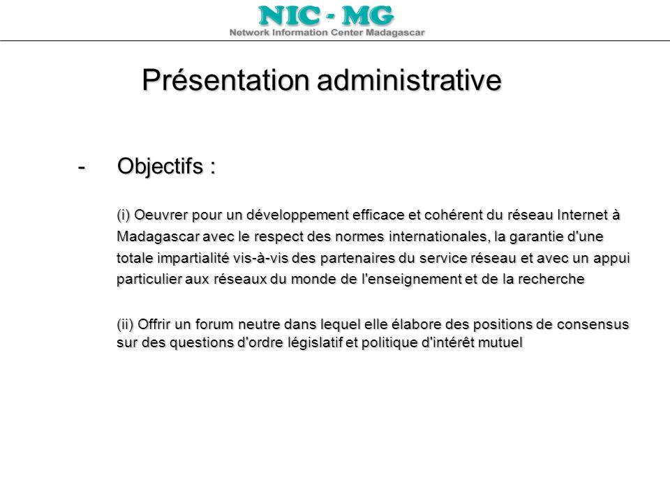 Présentation administrative L IANA (Internet Assigned Numbers Authority) qui a autorité sur les adresses IP, les noms de domaines et tous les autres paramètres utilisés dans l Internet, a délégué à l ESPA (Ecole Supérieure Polytechnique d Antananarivo) ladministration des services du NIC à Madagascar le 25 juillet 1995 (référence NIC-950627.146).L IANA (Internet Assigned Numbers Authority) qui a autorité sur les adresses IP, les noms de domaines et tous les autres paramètres utilisés dans l Internet, a délégué à l ESPA (Ecole Supérieure Polytechnique d Antananarivo) ladministration des services du NIC à Madagascar le 25 juillet 1995 (référence NIC-950627.146).
