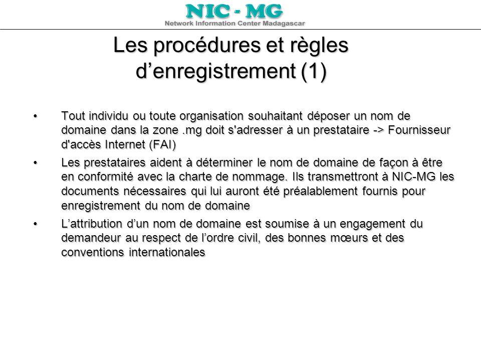 Les procédures et règles denregistrement (1) Tout individu ou toute organisation souhaitant déposer un nom de domaine dans la zone.mg doit s'adresser