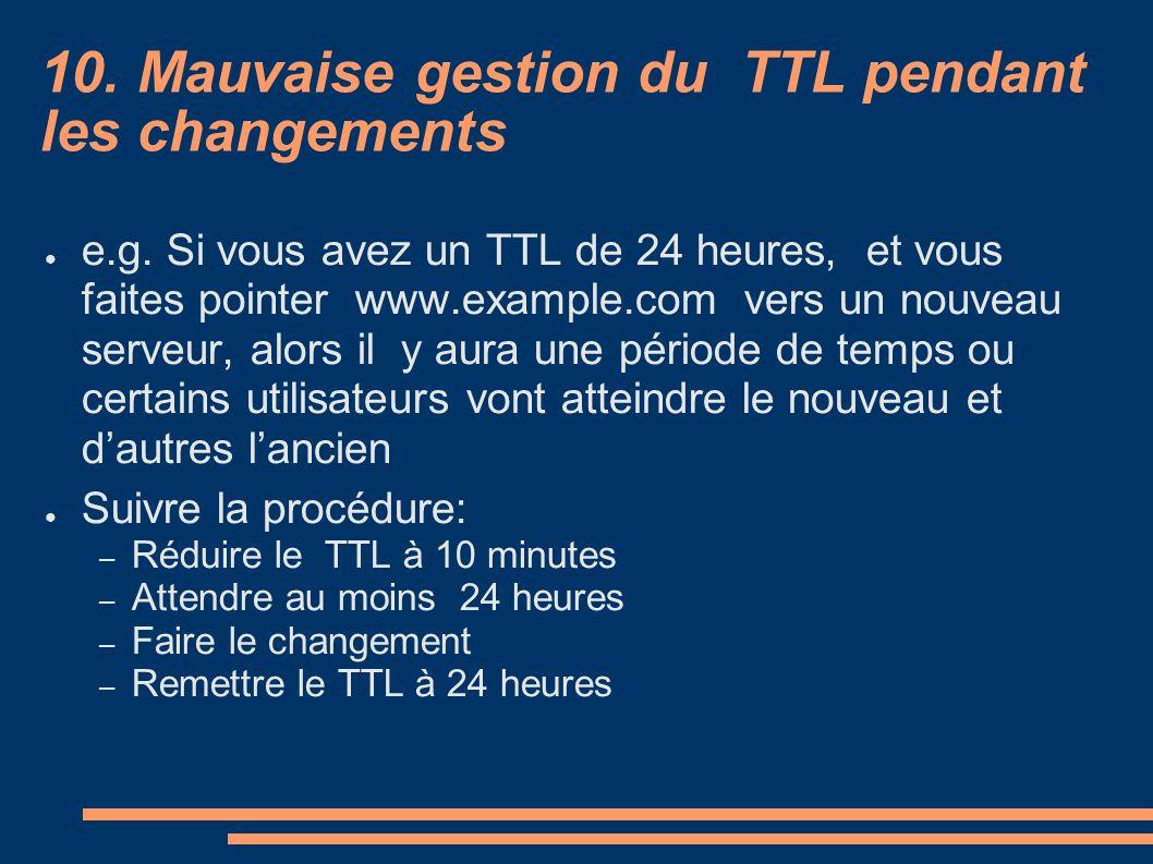 10. Mauvaise gestion du TTL pendant les changements e.g. Si vous avez un TTL de 24 heures, et vous faites pointer www.example.com vers un nouveau serv