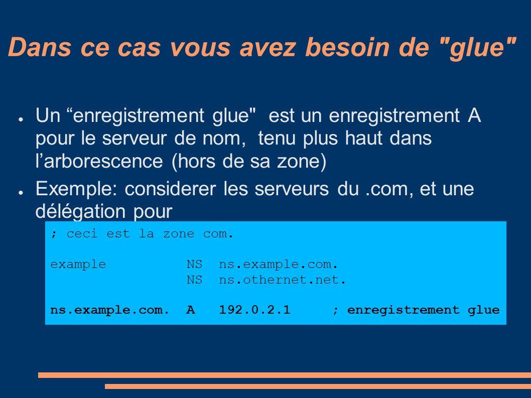 Dans ce cas vous avez besoin de glue Un enregistrement glue est un enregistrement A pour le serveur de nom, tenu plus haut dans larborescence (hors de sa zone) Exemple: considerer les serveurs du.com, et une délégation pour ; ceci est la zone com.