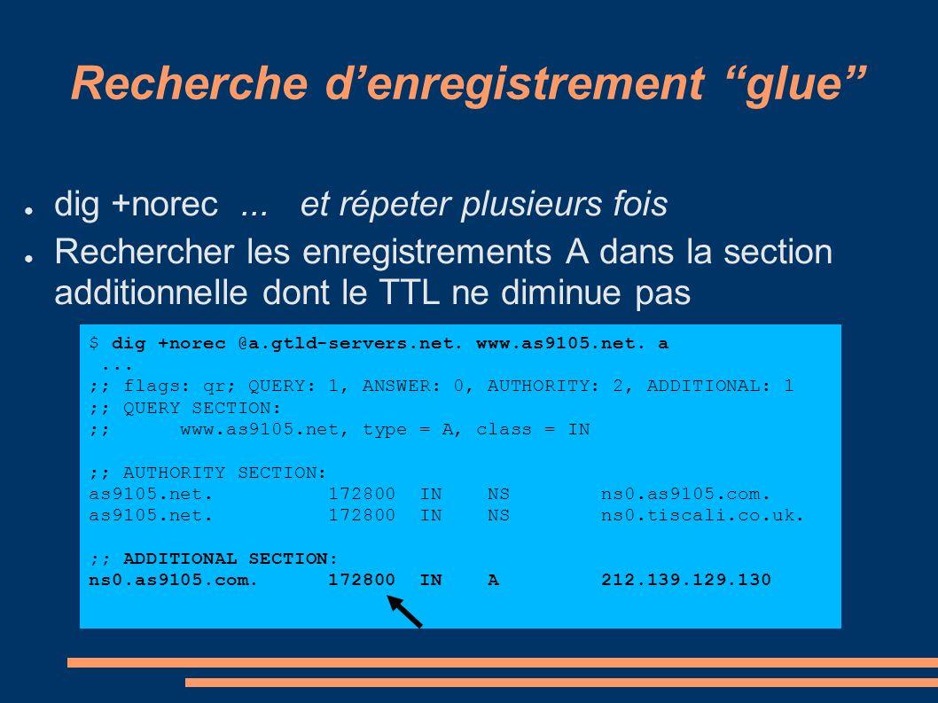 Recherche denregistrement glue dig +norec... et répeter plusieurs fois Rechercher les enregistrements A dans la section additionnelle dont le TTL ne d