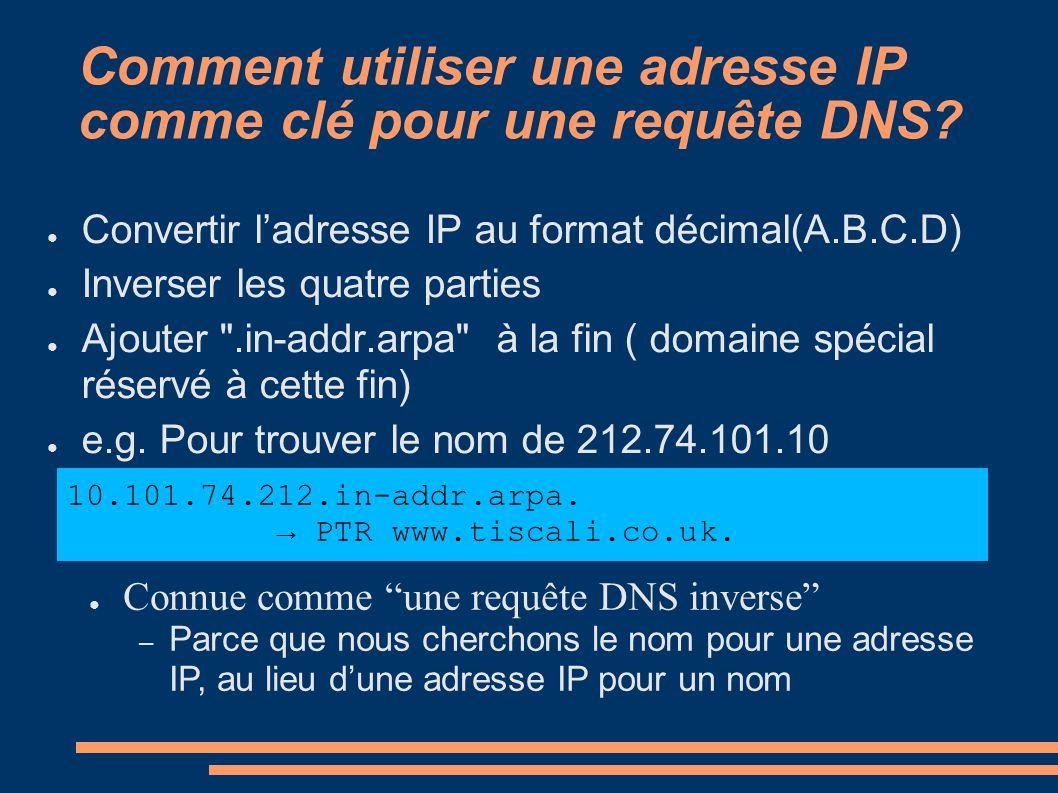 Comment utiliser une adresse IP comme clé pour une requête DNS? Convertir ladresse IP au format décimal(A.B.C.D) Inverser les quatre parties Ajouter