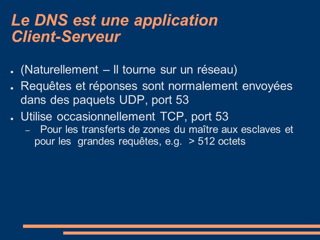 Le DNS est une application Client-Serveur (Naturellement – Il tourne sur un réseau) Requêtes et réponses sont normalement envoyées dans des paquets UDP, port 53 Utilise occasionnellement TCP, port 53 – Pour les transferts de zones du maître aux esclaves et pour les grandes requêtes, e.g.