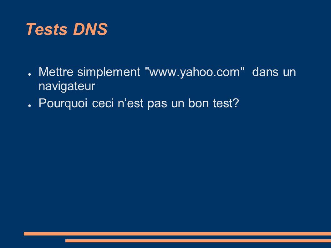 Tests DNS Mettre simplement www.yahoo.com dans un navigateur Pourquoi ceci nest pas un bon test?