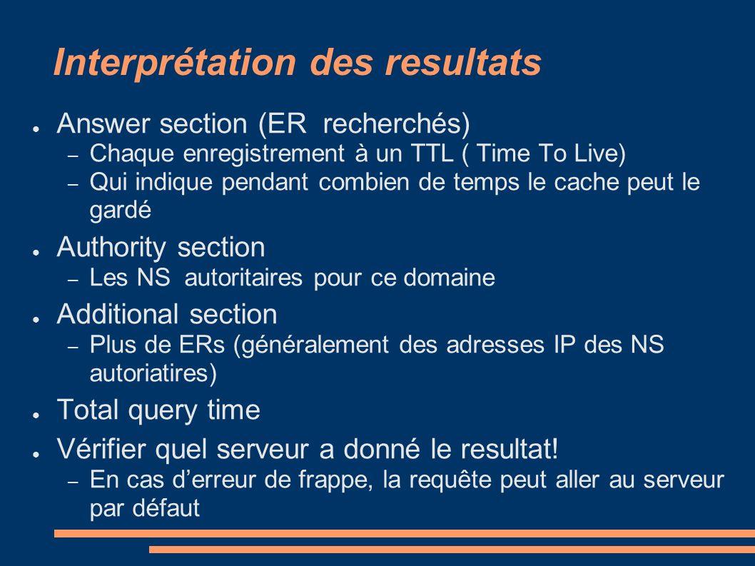 Interprétation des resultats Answer section (ER recherchés) – Chaque enregistrement à un TTL ( Time To Live) – Qui indique pendant combien de temps le