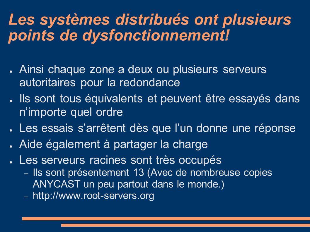 Les systèmes distribués ont plusieurs points de dysfonctionnement! Ainsi chaque zone a deux ou plusieurs serveurs autoritaires pour la redondance Ils