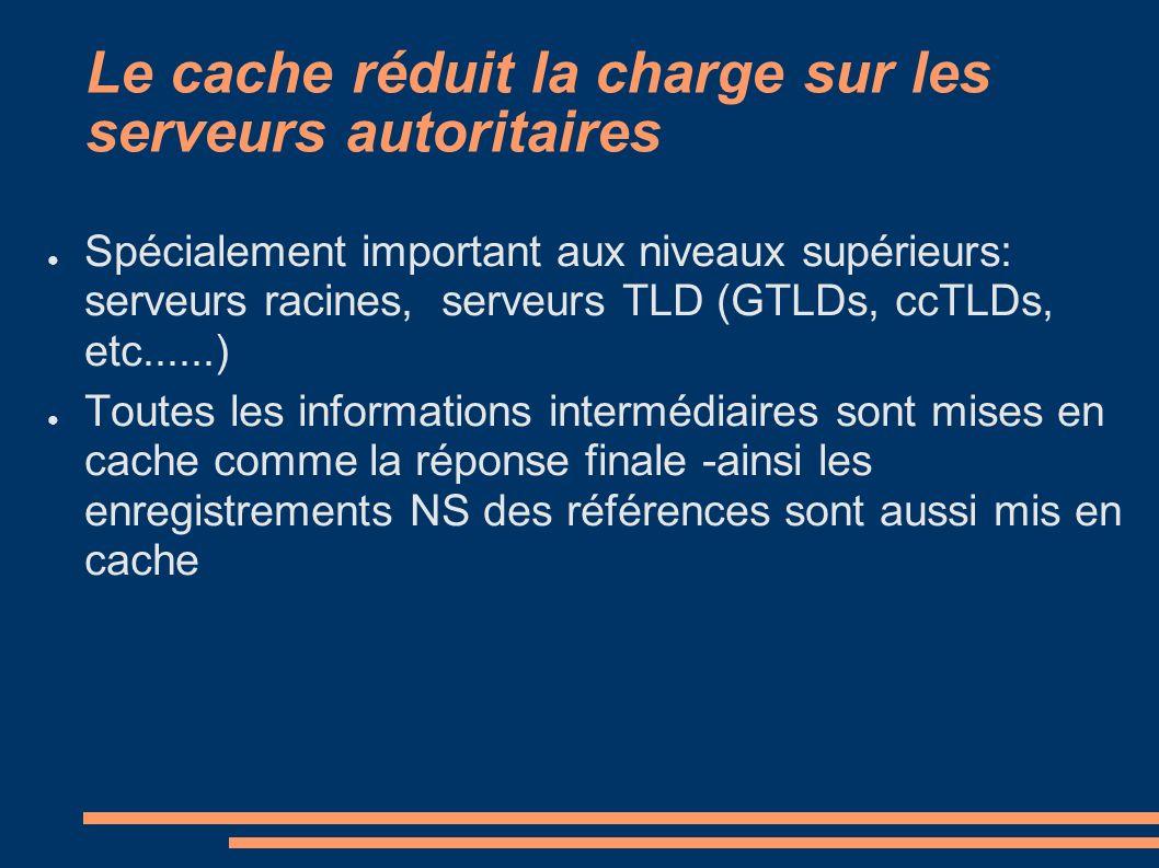 Le cache réduit la charge sur les serveurs autoritaires Spécialement important aux niveaux supérieurs: serveurs racines, serveurs TLD (GTLDs, ccTLDs, etc......) Toutes les informations intermédiaires sont mises en cache comme la réponse finale -ainsi les enregistrements NS des références sont aussi mis en cache