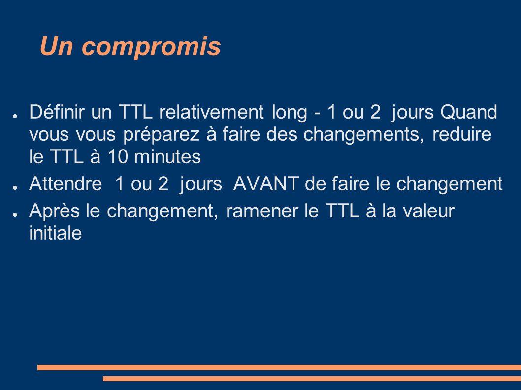 Un compromis Définir un TTL relativement long - 1 ou 2 jours Quand vous vous préparez à faire des changements, reduire le TTL à 10 minutes Attendre 1 ou 2 jours AVANT de faire le changement Après le changement, ramener le TTL à la valeur initiale