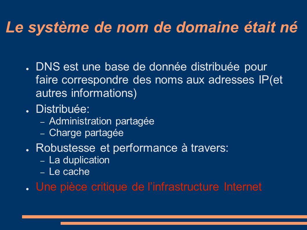 Le système de nom de domaine était né DNS est une base de donnée distribuée pour faire correspondre des noms aux adresses IP(et autres informations) Distribuée: – Administration partagée – Charge partagée Robustesse et performance à travers: – La duplication – Le cache Une pièce critique de linfrastructure Internet