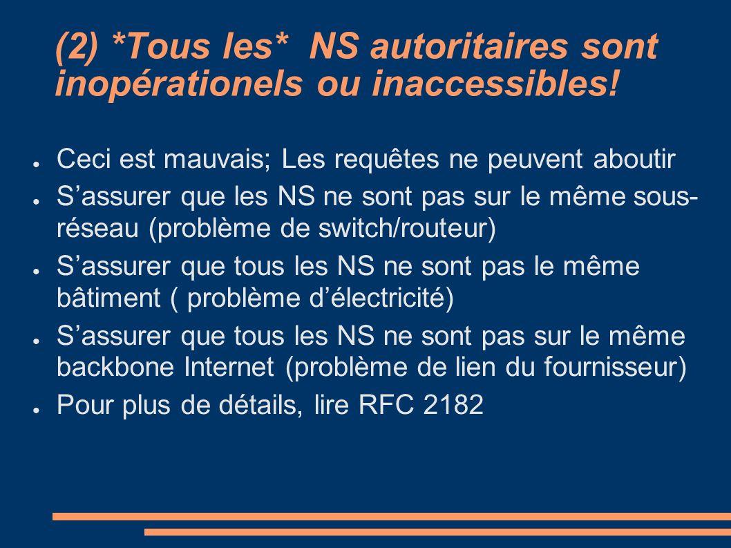 (2) *Tous les* NS autoritaires sont inopérationels ou inaccessibles! Ceci est mauvais; Les requêtes ne peuvent aboutir Sassurer que les NS ne sont pas