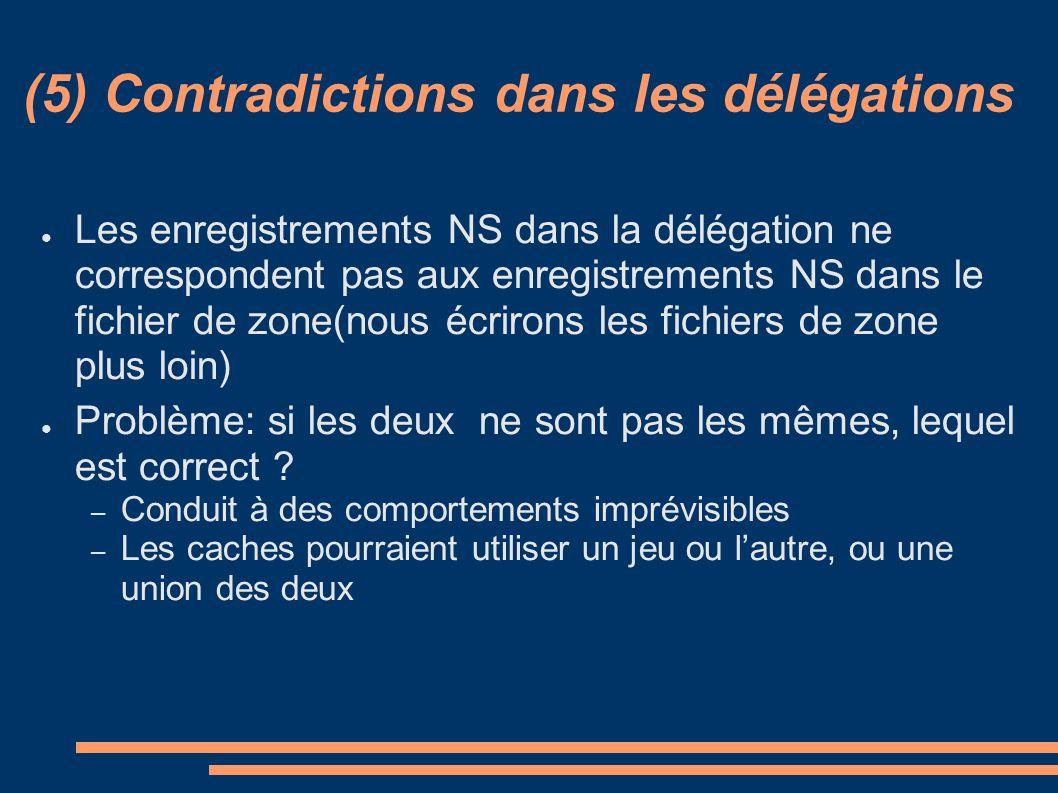 (5) Contradictions dans les délégations Les enregistrements NS dans la délégation ne correspondent pas aux enregistrements NS dans le fichier de zone(nous écrirons les fichiers de zone plus loin) Problème: si les deux ne sont pas les mêmes, lequel est correct .