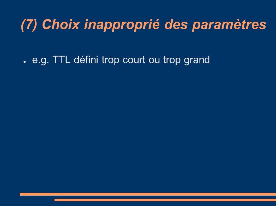(7) Choix inapproprié des paramètres e.g. TTL défini trop court ou trop grand