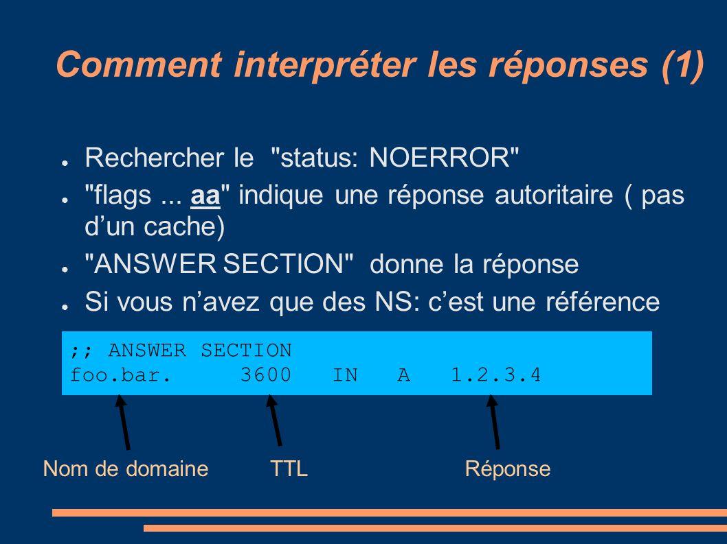 Comment interpréter les réponses (1) Rechercher le status: NOERROR flags...