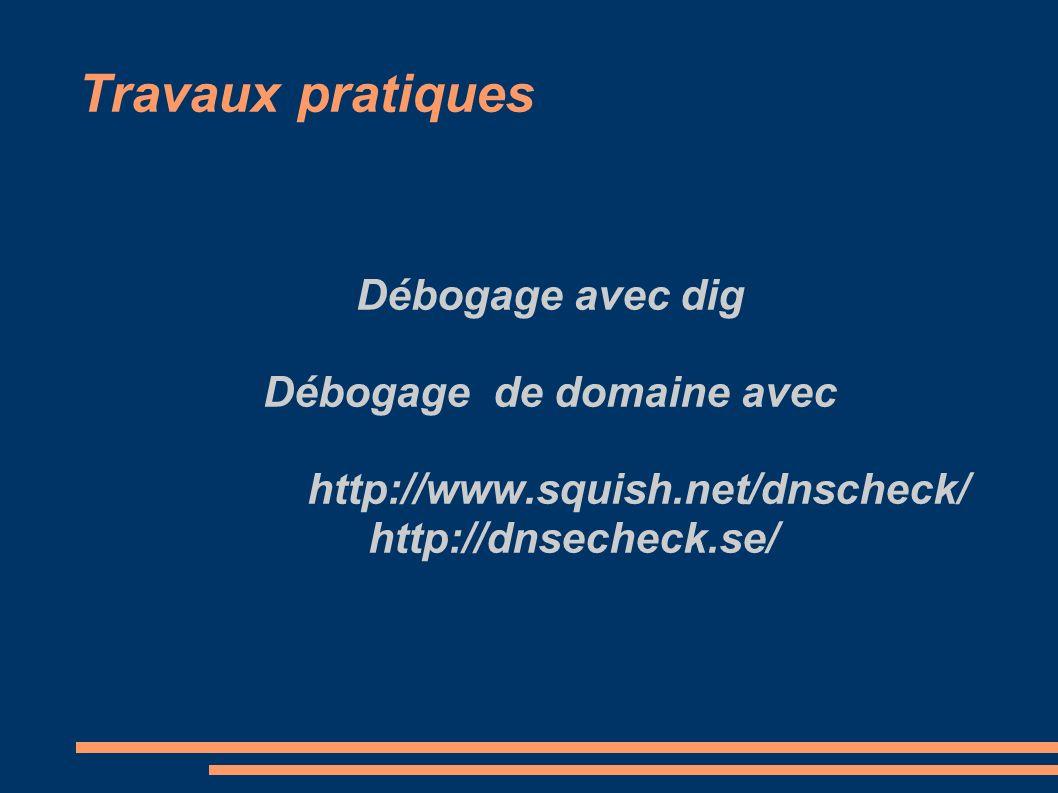 Travaux pratiques Débogage avec dig Débogage de domaine avec http://www.squish.net/dnscheck/ http://dnsecheck.se/