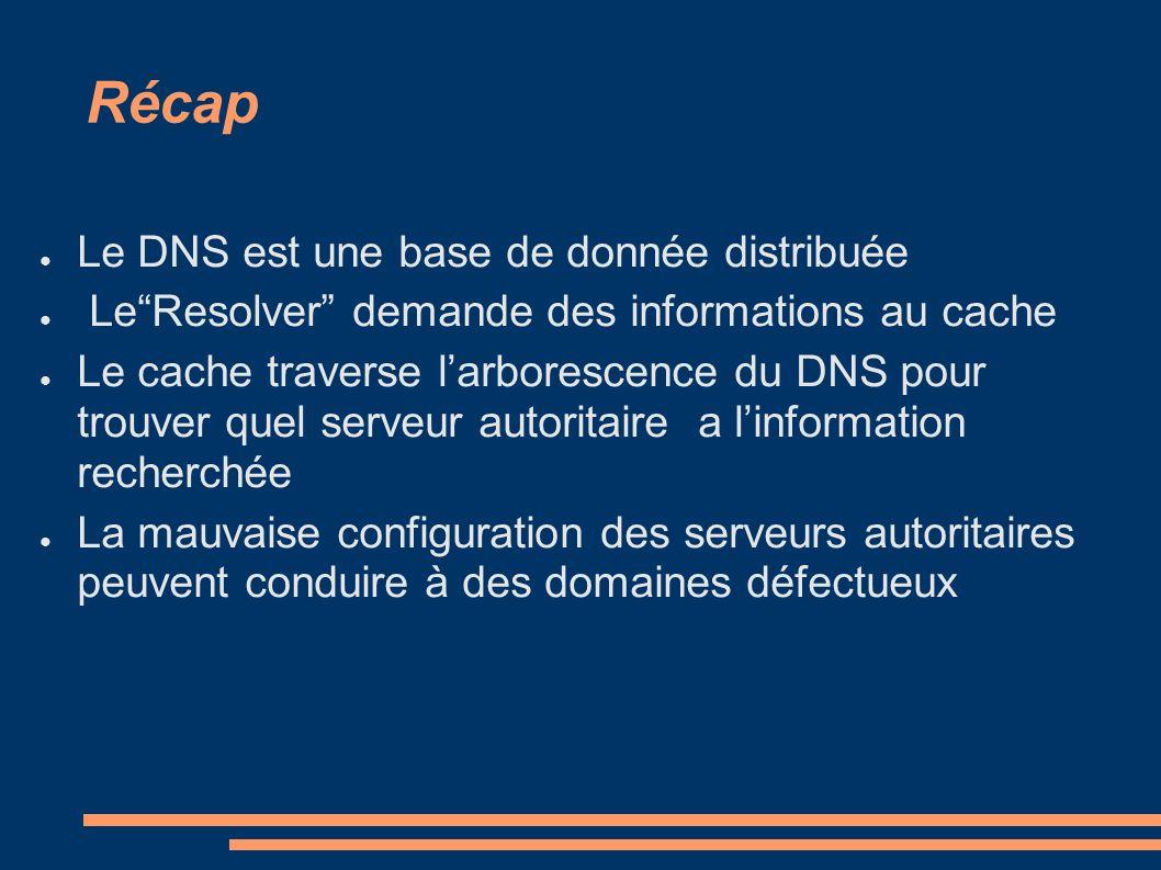 Récap Le DNS est une base de donnée distribuée LeResolver demande des informations au cache Le cache traverse larborescence du DNS pour trouver quel s