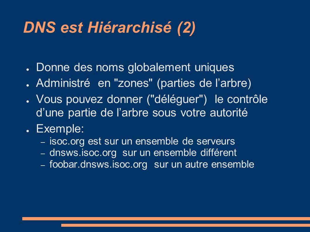 DNS est Hiérarchisé (2) Donne des noms globalement uniques Administré en zones (parties de larbre) Vous pouvez donner ( déléguer ) le contrôle dune partie de larbre sous votre autorité Exemple: – isoc.org est sur un ensemble de serveurs – dnsws.isoc.org sur un ensemble différent – foobar.dnsws.isoc.org sur un autre ensemble