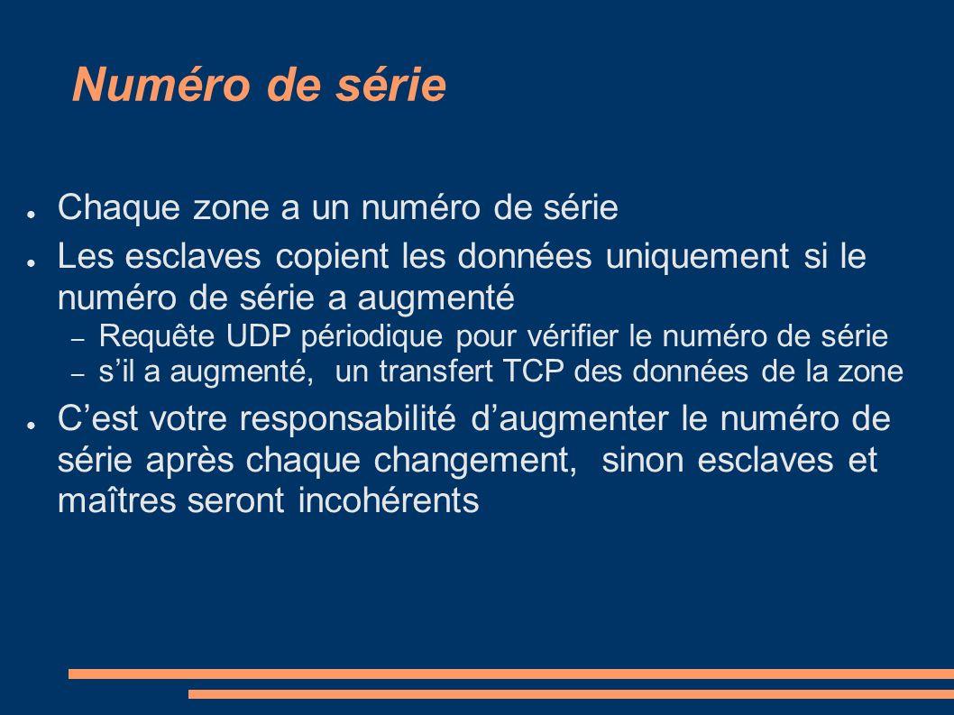 Numéro de série Chaque zone a un numéro de série Les esclaves copient les données uniquement si le numéro de série a augmenté – Requête UDP périodique