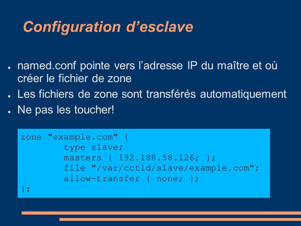 Configuration desclave named.conf pointe vers ladresse IP du maître et où créer le fichier de zone Les fichiers de zone sont transférés automatiquement Ne pas les toucher.