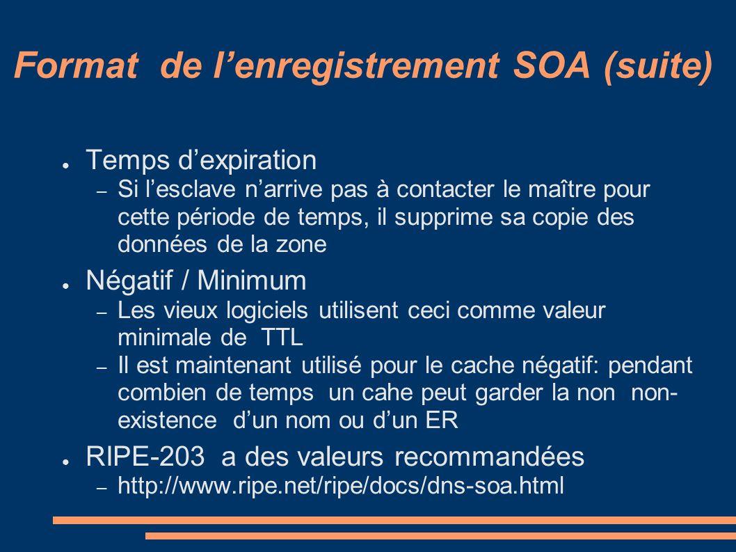 Format de lenregistrement SOA (suite) Temps dexpiration – Si lesclave narrive pas à contacter le maître pour cette période de temps, il supprime sa co