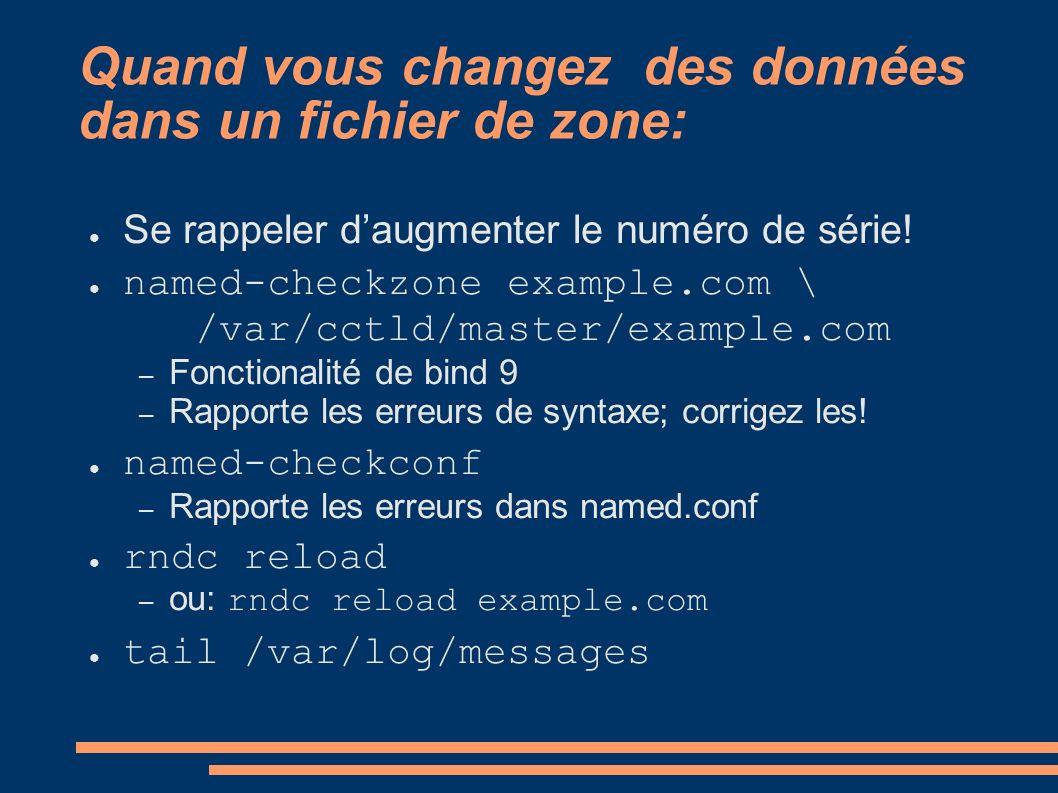 Quand vous changez des données dans un fichier de zone: Se rappeler daugmenter le numéro de série! named-checkzone example.com \ /var/cctld/master/exa