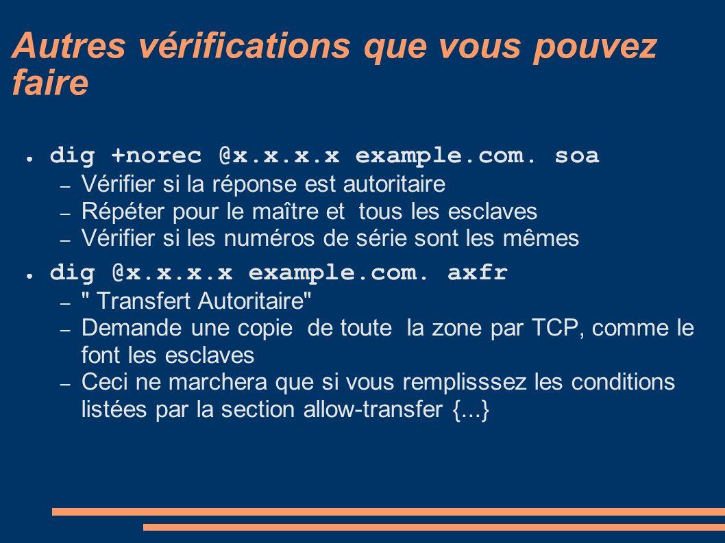 Autres vérifications que vous pouvez faire dig +norec @x.x.x.x example.com. soa – Vérifier si la réponse est autoritaire – Répéter pour le maître et t
