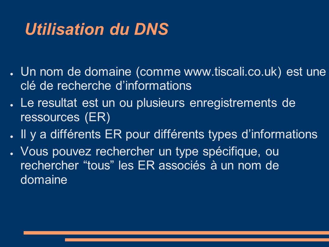 Utilisation du DNS Un nom de domaine (comme www.tiscali.co.uk) est une clé de recherche dinformations Le resultat est un ou plusieurs enregistrements de ressources (ER) Il y a différents ER pour différents types dinformations Vous pouvez rechercher un type spécifique, ou rechercher tous les ER associés à un nom de domaine