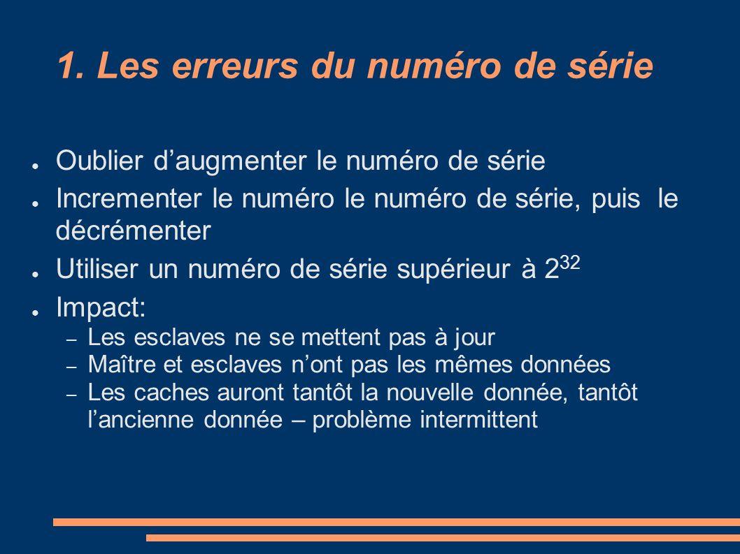 1. Les erreurs du numéro de série Oublier daugmenter le numéro de série Incrementer le numéro le numéro de série, puis le décrémenter Utiliser un numé