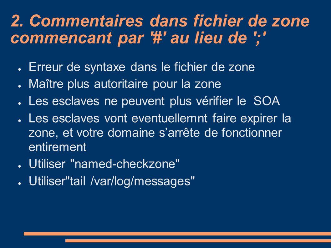 2. Commentaires dans fichier de zone commencant par '#' au lieu de ';' Erreur de syntaxe dans le fichier de zone Maître plus autoritaire pour la zone