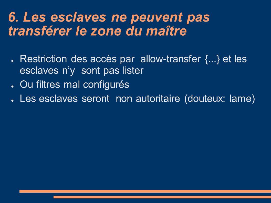 6. Les esclaves ne peuvent pas transférer le zone du maître Restriction des accès par allow-transfer {...} et les esclaves ny sont pas lister Ou filtr
