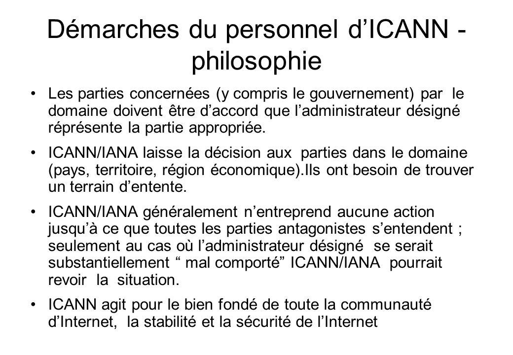 Démarches du personnel dICANN - philosophie Les parties concernées (y compris le gouvernement) par le domaine doivent être daccord que ladministrateur désigné réprésente la partie appropriée.