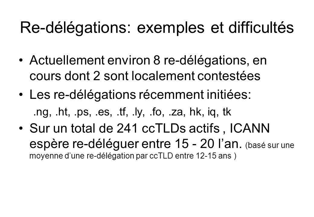 Re-délégations: exemples et difficultés Actuellement environ 8 re-délégations, en cours dont 2 sont localement contestées Les re-délégations récemment initiées:.ng,.ht,.ps,.es,.tf,.ly,.fo,.za, hk, iq, tk Sur un total de 241 ccTLDs actifs, ICANN espère re-déléguer entre 15 - 20 lan.
