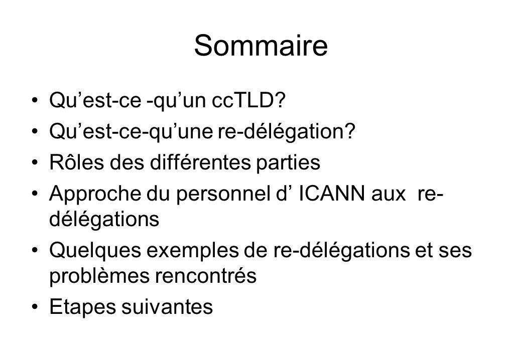 Sommaire Quest-ce -quun ccTLD. Quest-ce-quune re-délégation.