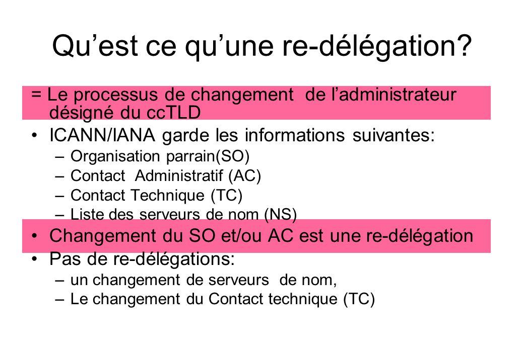 Documents relatifs Site web d ICANN/IANA (www.iana.org) RFC 1591 (ttp://www.isi.edu/in-notes/rfc1591.txt)ttp://www.isi.edu/in-notes/rfc1591.txt Document dIANA sur les pratiques de Délégation de cctld (ICP-1) (ttp://www.icann.org/icp/icp-1.htm)ttp://www.icann.org/icp/icp-1.htm Liste dISO 3166-1 (ttp://www.iso.org/iso/en/prods- services/iso3166ma/index.html)ttp://www.iso.org/iso/en/prods- services/iso3166ma/index.html Les principes du GAC pour la délégation et ladministration de ccTLD (ttp://ac.icann.org/web/docs/index.shtml )ttp://ac.icann.org/web/docs/index.shtml