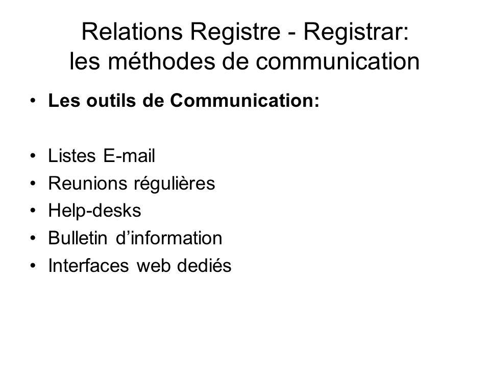 Relations Registre - Registrar: les méthodes de communication Les outils de Communication: Listes E-mail Reunions régulières Help-desks Bulletin dinformation Interfaces web dediés