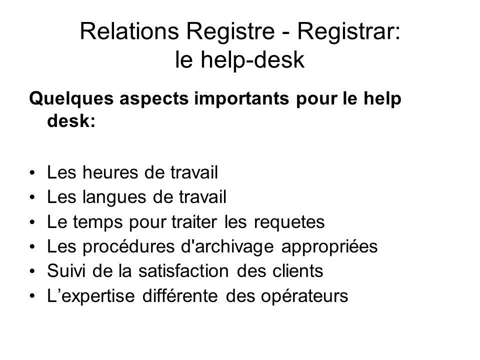 Relations Registre - Registrar: le help-desk Quelques aspects importants pour le help desk: Les heures de travail Les langues de travail Le temps pour traiter les requetes Les procédures d archivage appropriées Suivi de la satisfaction des clients Lexpertise différente des opérateurs