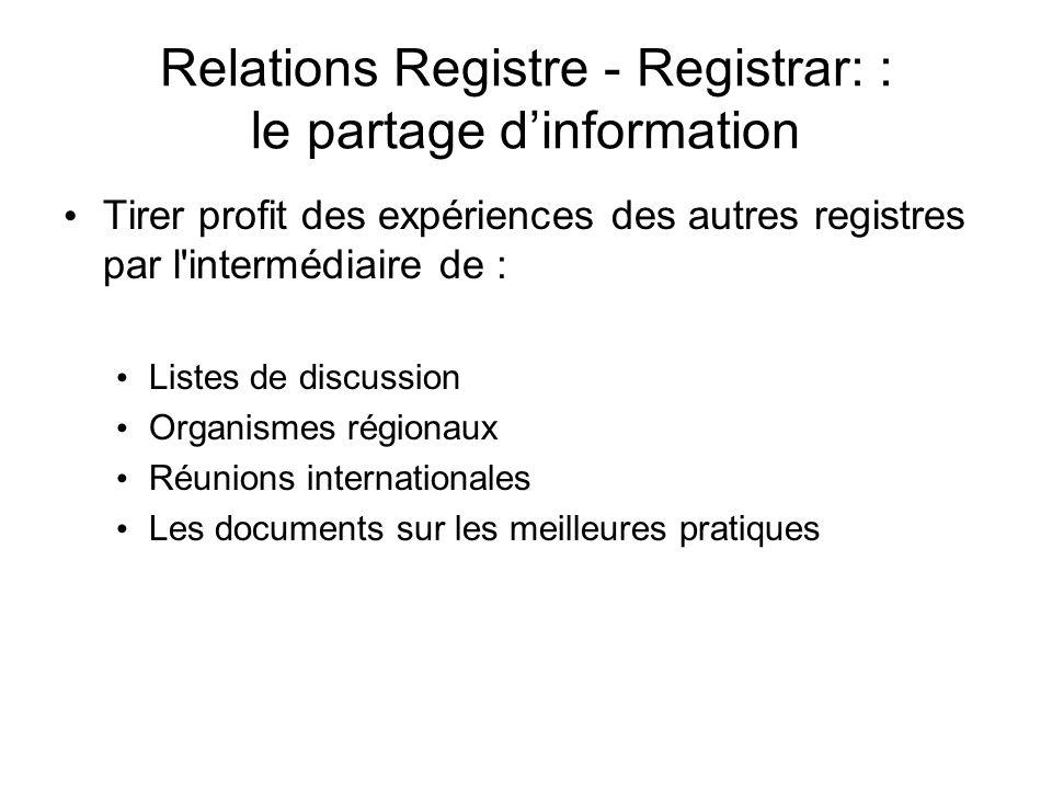 Relations Registre - Registrar: : le partage dinformation Tirer profit des expériences des autres registres par l intermédiaire de : Listes de discussion Organismes régionaux Réunions internationales Les documents sur les meilleures pratiques