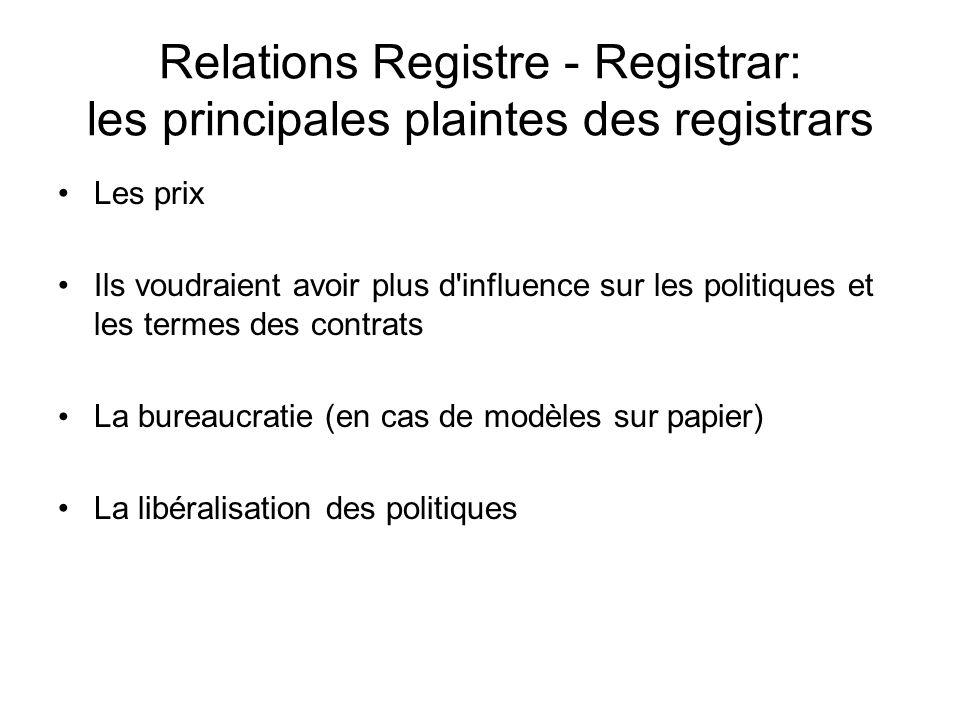 Relations Registre - Registrar: les principales plaintes des registrars Les prix Ils voudraient avoir plus d influence sur les politiques et les termes des contrats La bureaucratie (en cas de modèles sur papier) La libéralisation des politiques