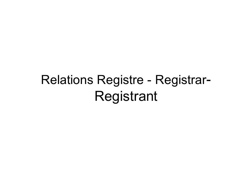 Relations Registre - Registrar - Registrant