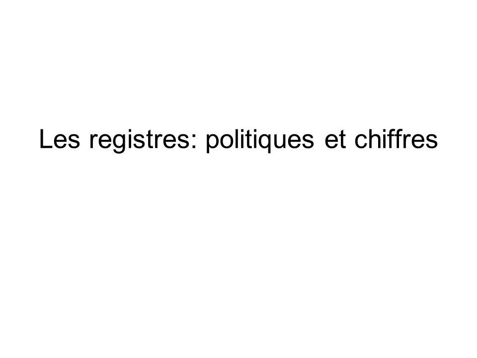 Les registres: politiques et chiffres