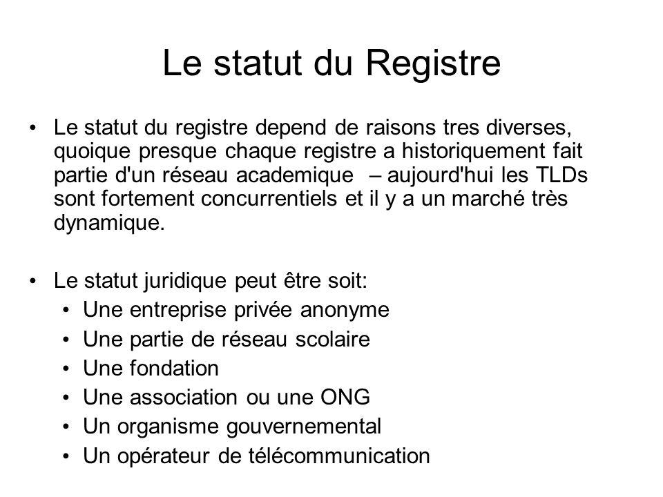 Le statut du Registre Le statut du registre depend de raisons tres diverses, quoique presque chaque registre a historiquement fait partie d un réseau academique – aujourd hui les TLDs sont fortement concurrentiels et il y a un marché très dynamique.