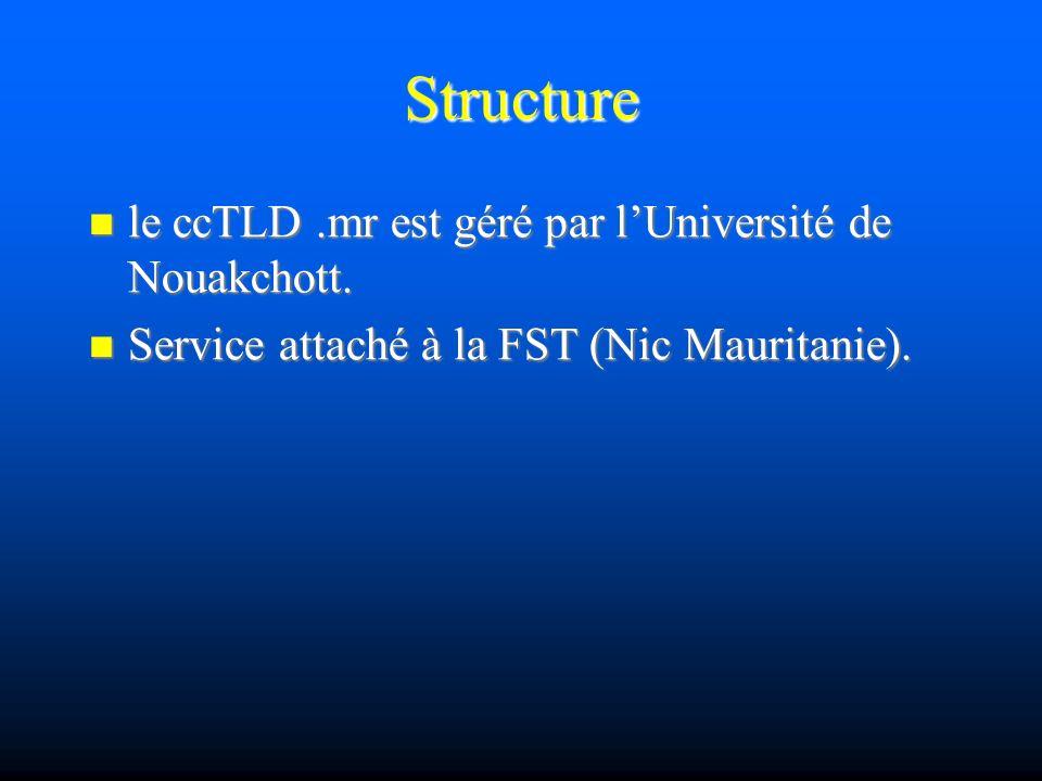 Structure le ccTLD.mr est géré par lUniversité de Nouakchott. le ccTLD.mr est géré par lUniversité de Nouakchott. Service attaché à la FST (Nic Maurit