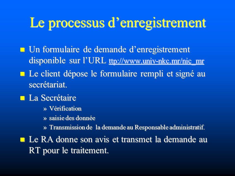 Le processus denregistrement Un formulaire de demande denregistrement disponible sur lURL ttp://www.univ-nkc.mr/nic_mr Un formulaire de demande denregistrement disponible sur lURL ttp://www.univ-nkc.mr/nic_mr ttp://www.univ-nkc.mr/nic_mr Le client dépose le formulaire rempli et signé au secrétariat.