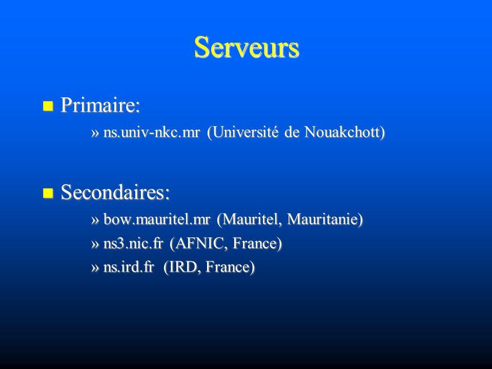 Serveurs Primaire: Primaire: »ns.univ-nkc.mr (Université de Nouakchott) Secondaires: Secondaires: »bow.mauritel.mr (Mauritel, Mauritanie) »ns3.nic.fr (AFNIC, France) »ns.ird.fr (IRD, France)