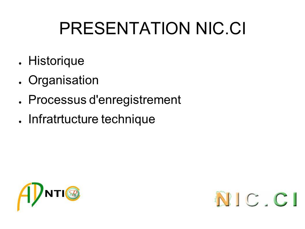 PRESENTATION NIC.CI Historique Organisation Processus d'enregistrement Infratrtucture technique